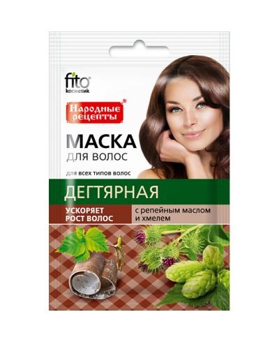 """Fitokosmetik maska do włosów """"dziegciowa"""" z olejkiem łopianowym i chmielem, 30ml"""