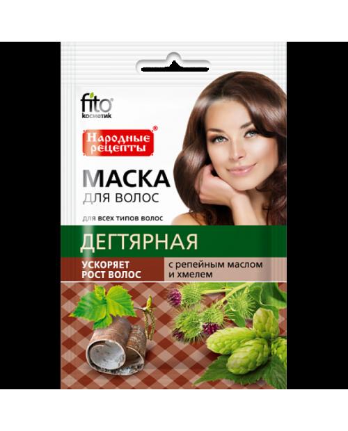 """FK maska do włosów """"dziegciowa"""" z olejkiem łopianowym i chmielem. 30ml"""