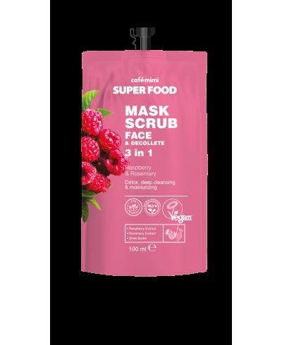 CAFE MIMI SUPER FOOD Maska-skrub do twarzy i dekoltu malina i rozmaryn, 100 ml