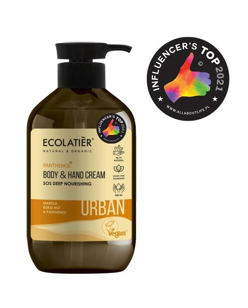 Ecolatier Urban Odżywczy rem do ciała i rąk Marula, orzechy kukui i pantenol, 400 ml