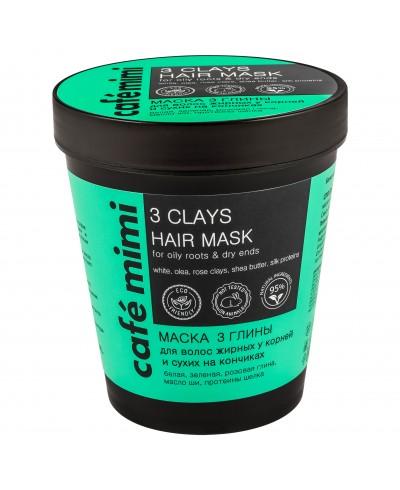 CAFE MIMI Maska do włosów tłustych u nasady i suchych na końcach 3 gliny, 220 ml