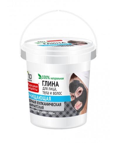 Czarna oczyszczająca glinka wulkaniczna Kamczacka do pielęgnacji twarzy, ciała i włosów. Przepisy ludowe, wiaderko 155ml