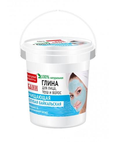 Niebieska glinka Bajkalska do pielęgnacji twarzy, ciała i włosów. Przepisy ludowe, wiaderko 155ml