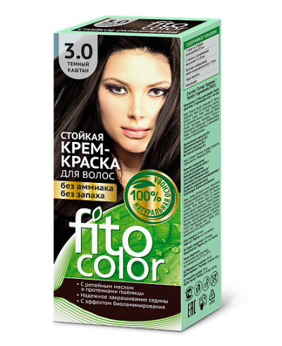 Trwała krem farba do włosów Fitocolor 3.0 odcień Ciemny kasztan