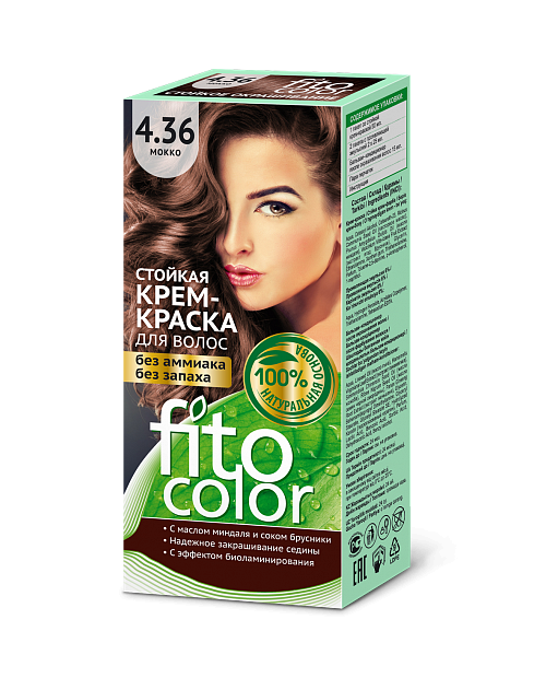 Trwała krem farba do włosów Fitocolor 4.36 odcień Mokka